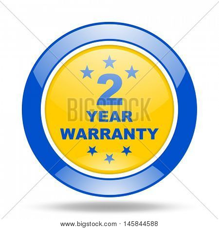 warranty guarantee 2 year round glossy blue and yellow web icon
