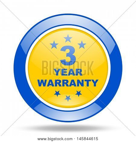 warranty guarantee 3 year round glossy blue and yellow web icon
