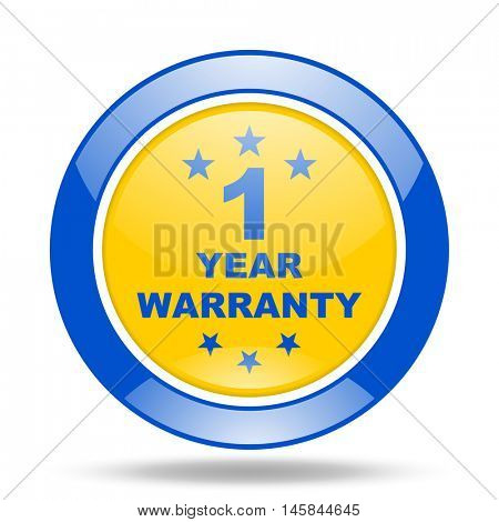 warranty guarantee 1 year round glossy blue and yellow web icon