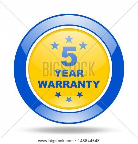 warranty guarantee 5 year round glossy blue and yellow web icon