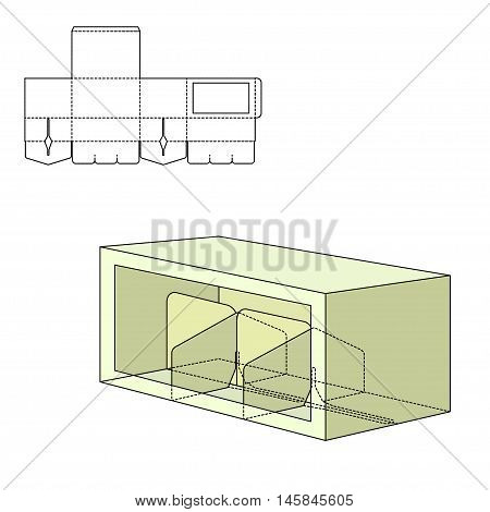 Vector Illustration of Beer Diecut Craft Box for Design, Website, Background, Banner. Retail Folding package Template. Fold pack with dieline for your brand on it poster