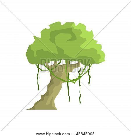 Tropical Tree With Liana Hanging Jungle Landscape Element. Simple Tropical Forest Object Illustration Isolated On White Background.