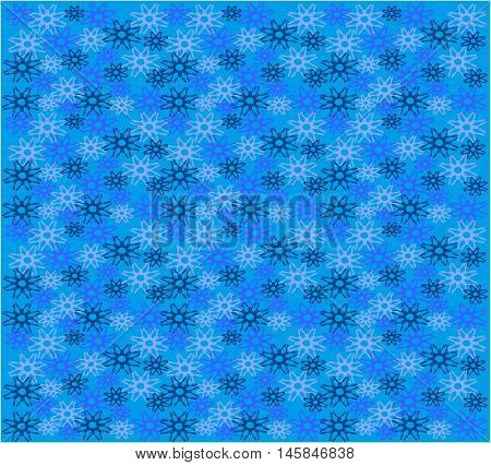 Stock Vector Illustration of Blue Snowflakes pattern