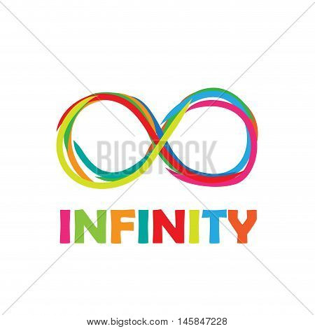 Vector sign infinity. Written with colored markers