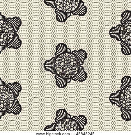 Flower lace seamless pattern net. Black cell textile openwork knit on beige. Texture hosiery monochrome knit.