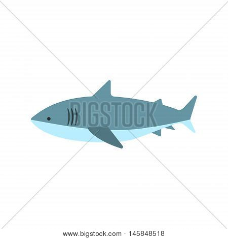Great White Shark Primitive Style Childish Sticker. Marine Animal Minimalistic Vector Illustration Isolated On White Background.