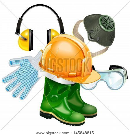 Vector Protective Equipment Concept isolated on white background