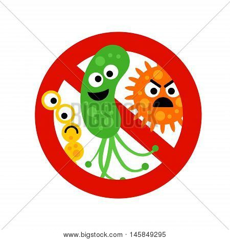 Stop bacterium sign with cute 3 cartoon gems in flat style isolated on white background. Alert circle symbol for antibacterial products. Art vector illustration.
