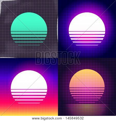 80s Retro Sci-Fi sunset Background VHS. Vector EPS10