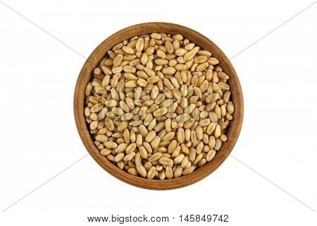 Top view of dried Wheat Berries in wooden bowl. Dry wheat berry isolated on white background.