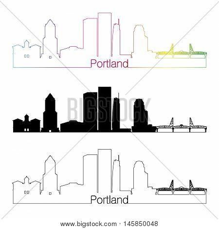 Portland V2 skyline linear style with rainbow in editable vector file