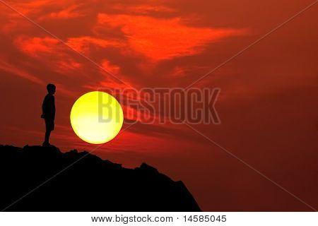 Boy Mountain Silhouette