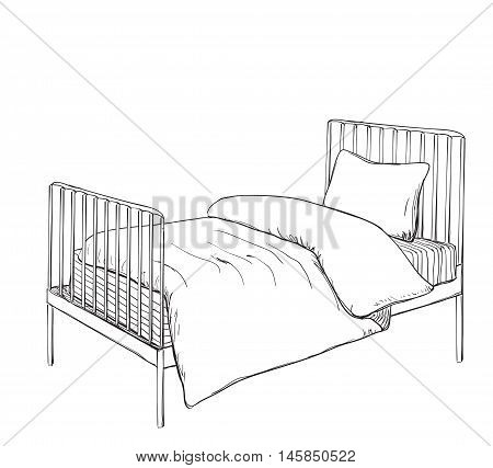 Kids bunk bed doodle style sketch illustration