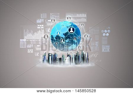 Virtual business city with futuristic building graphic charts and globe