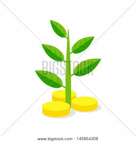 Investment Icon. Coins and growing plant - vector illustration. Monetary investment concept.