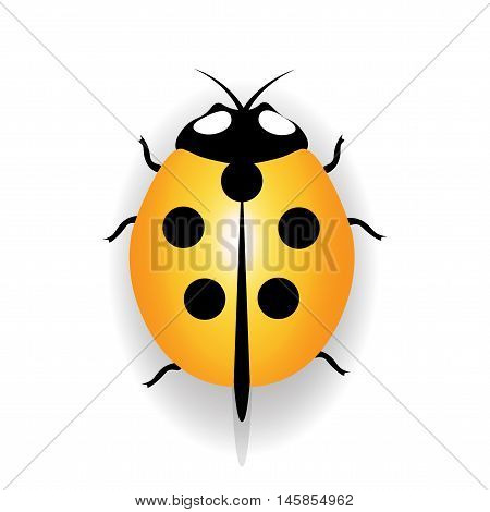 Ladybug icon, yellow ladybug with five black dots. Vector illustration
