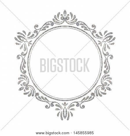 Elegant luxury vintage hexagon silver floral frame on white background. Refined hand drawn border template for greeting card, postcard, invitation, banner, flyer, poster. Vector illustration.