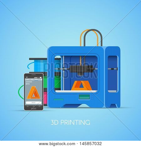 3D printing vector concept poster in flat style. Design elements and icons. Industrial 3D printer print objects from smartphone.