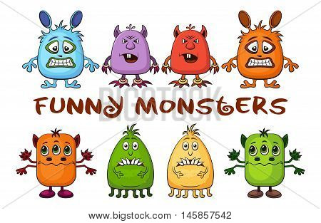 Set of Funny Colorful Cartoon Characters, Different Monsters, Elements for your Design, Prints and Banners, Isolated on White Background. Vector