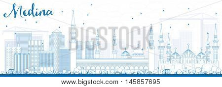Outline Medina Skyline with Blue Buildings. Vector Illustration. Business Travel and Tourism Concept with Historic Buildings. Image for Presentation Banner Placard and Web Site.