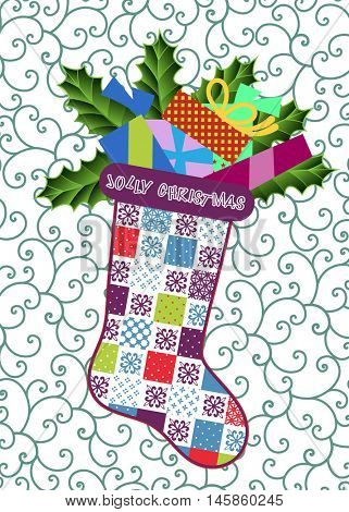 Patchwork Christmas stocking over wallpaper