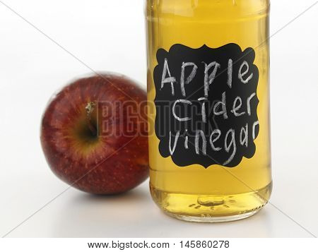 apple cider vinegar on the white background