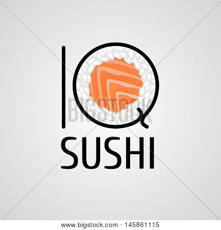 Sushi vector logo, icon, symbol, logotype. Graphic design element with roll, salmon, chopstick for sushi bar, Japanese restaurant menu decoration