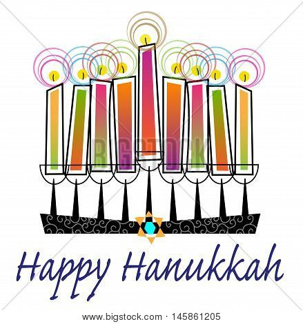 Stylized menorah with colorful candles and Happy Hanukkah text. Eps10