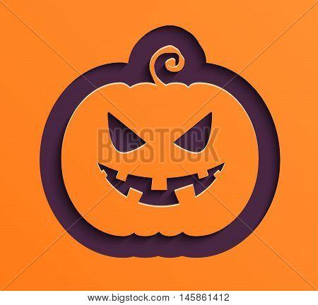 Happy Halloween creative paper pumpkin. Vector illustration.