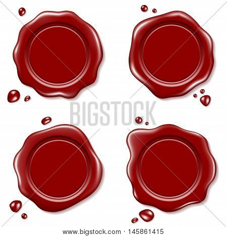 Set of Red Wax Seal isolated on a white background
