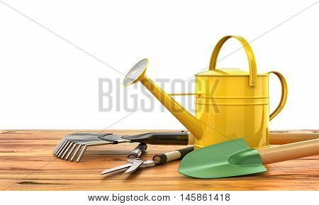 Concept of gardening. Gardening tools (Watering can shovel rake flowers and scissors) on the wooden table. 3d illustration