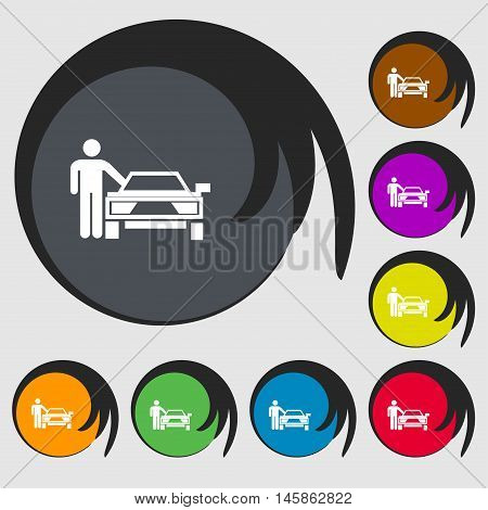 Person Up Hailing A Taxi Icon Sign. Symbols On Eight Colored Buttons. Vector