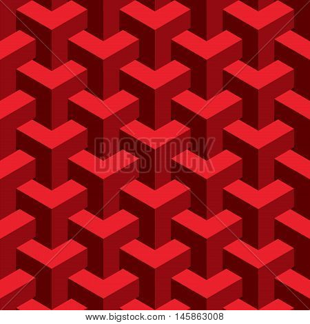 Vector unreal texture, abstract design, illusion construction, red background