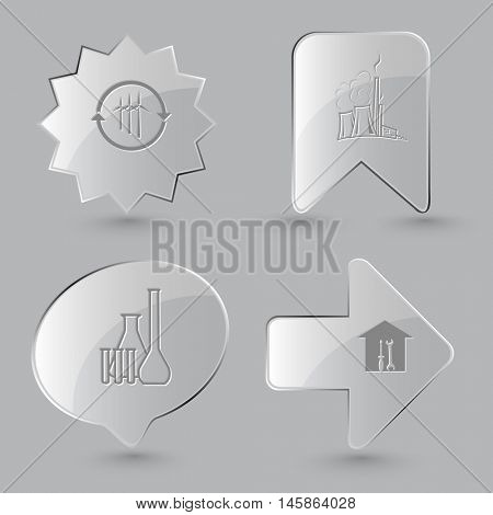 4 images: wind turbine, thermal power engineering, chemical test tubes, workshop. Technology set. Glass buttons on gray background. Vector icons.