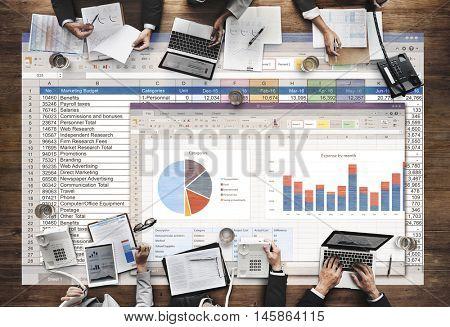 Spreadsheet Document Financial Report Concept