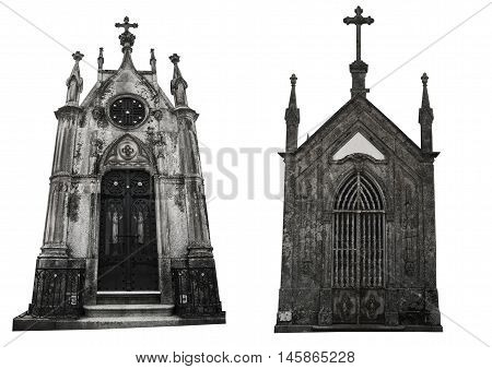 Set of two different facades of old crypts. Isolated on white background.