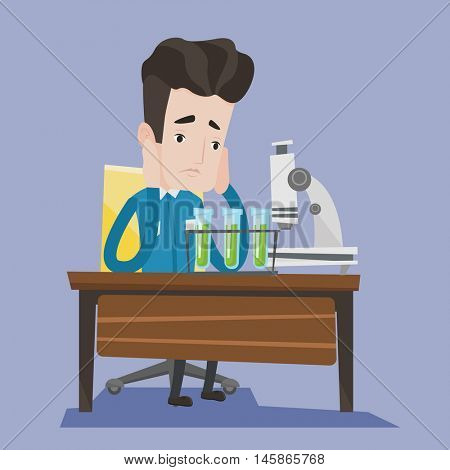 Student carrying out experiment. Student working at laboratory class. Student clutching his head at chemistry class because of failed experiment. Vector flat design illustration. Square layout.