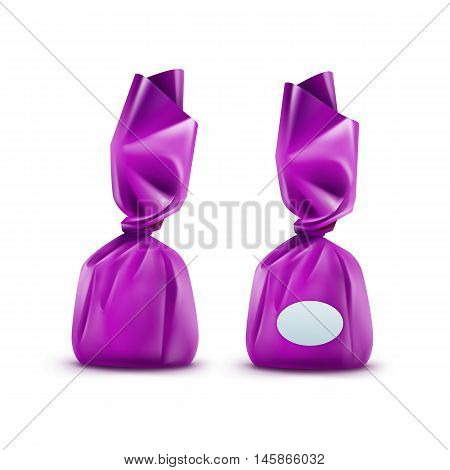 Vector Realistic Chocolate Candy in Purpule Glossy Wrapper Close up Isolated on White Background