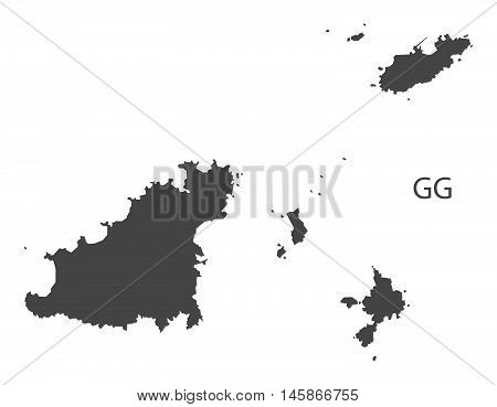 Guernsey grey map isolated vector high res
