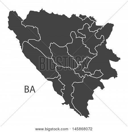 Bosnia Hercegovina with counties grey map isolated vector high res