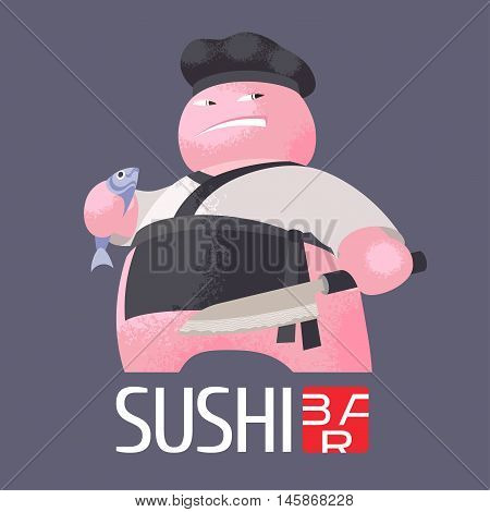 Sushi vector template logo, icon, emblem. Nonstandard design element, illustration with fla style chef for sushi bar, seafood or Japanese restaurant advertising