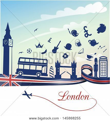 london background with flag and symbol set