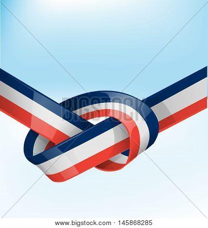 france ribbon flag on blue sky background