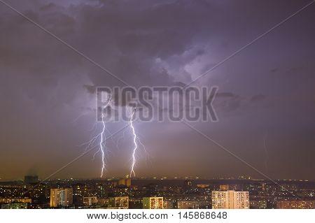 Lightning Strike Over City.