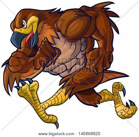 Vector cartoon clip art illustration side view of a tough muscular hawk falcon or eagle mascot running.