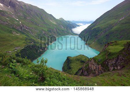 Dam at Mooserboden lake next to Kaprun, Austria