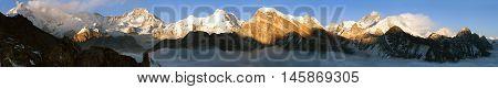 Evening panoramic view of Mount Everest Lhotse Makalu and Cho Oyu from Gokyo Ri - Khumbu valley sagarmatha national park - Nepal