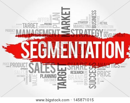 Segmentation word cloud business concept, presentation background