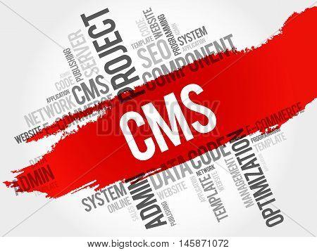 CMS Content Management System word cloud business concept