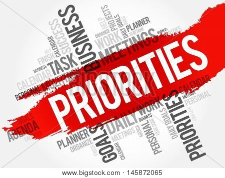 PRIORITIES word cloud business concept, presentation background